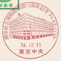 小型印「逓信総合博物館開館15周年フェスティバル」